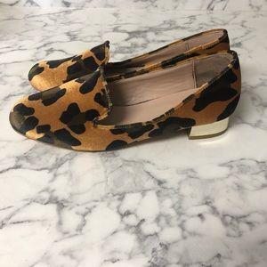 Topshop velvet leopard loafers
